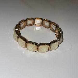 Gold and white sparkle stone bracelet